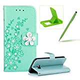 Diamond Leather Case for Samsung Galaxy S6,Green Wallet Glitter Case for Samsung Galaxy S6,Herzzer Stylish Pretty Peach Blossom Printed 3D Crystal Flower Magnetic PU Leather with Soft Silicone Inner Back Case