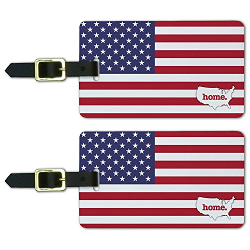 Graphics & More United States of America USA Home Country Luggage Suitcase Id Tags-Flag, White ()