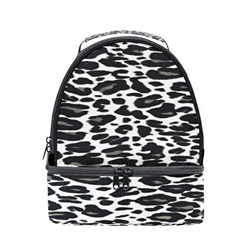 (ALAZA White Black Animal Leopard Skin Print Texture Portable Shoulder Double Lunch Box Bag Insulated Lunch Tote Outdoor Bag)