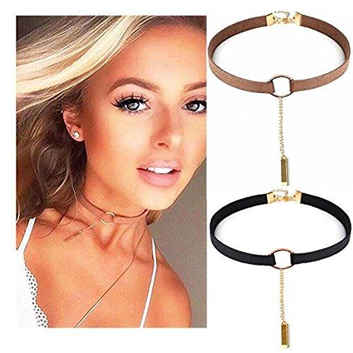 Udobuy 2 Pcs Set Fashion Simple Style Black Velvet PU Leather Choker Necklace Eye Bead Charm Tattoo Choker