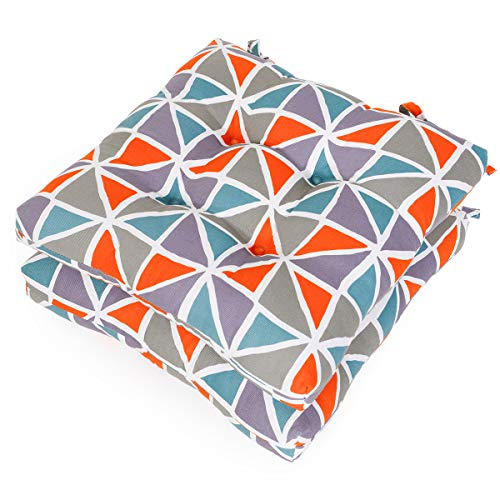 Shinnwa Kitchen Dining Room Chair Pads Cushions with Ties [16″x16″x3″] Patio Chair Seat Cushion Set of 2 – Canvas Orange Plaid Pattern