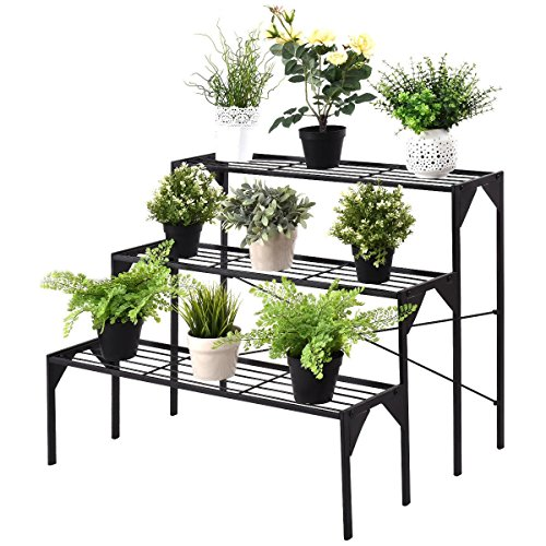 Custpromo 3 Tier Flower Plant Display Stand Rack Black Metal Heavy Duty Planter Storage Shelf (Series 2) -