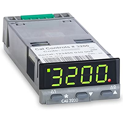 Cal 320050 CAL 3200 Series 1/32 DIN Temperature Controller, 24 V AC/DC, SSR Driver and Relay Outputs, Green LED