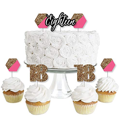 Chic 18th Birthday - Pink, Black and Gold - Dessert Cupcake Toppers - Birthday Party Clear Treat Picks - Set of 24