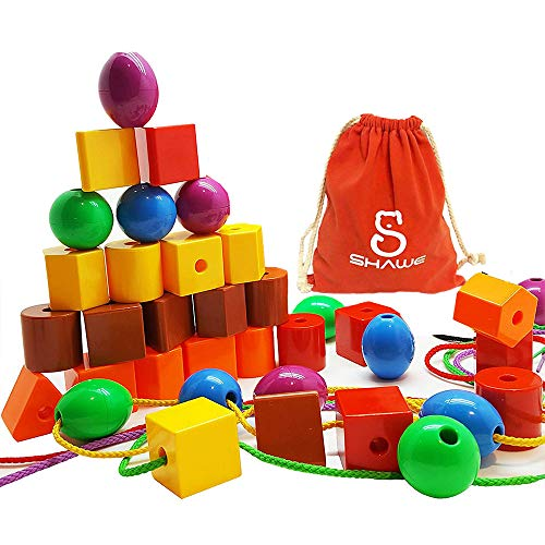 30 Jumbo Lacing Beads,Stringing Bead Set for Toddlers,Include 4 Strings, Carrying Nice SHAWE Bag - Montessori Toys for Fine Motor Skills Autism OT  ()