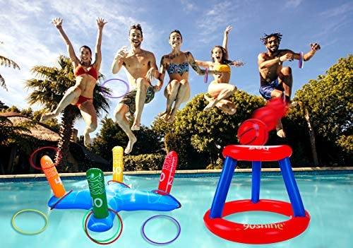 90shine Pool Toys Games Set – Floating Basketball Hoop&Inflatable Ring Toss for Kids Adults Family Swimming Water Sport Fun Floats Accessories