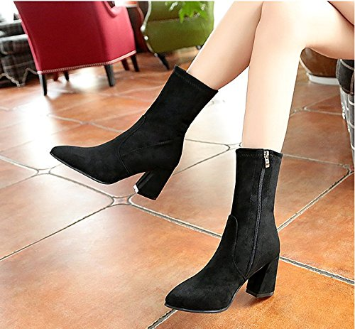 KHSKX-Coarse Pointed Heels Boots Martin Boots New Suede Boots Single Side Zipper Thirty-nine 6KzfMj