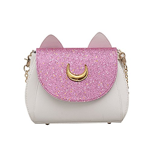 Sunwel Fashion Women Pu Leather Handbag Moon Sailor Cosplay Messenger Goddess Warrior Shoulder Bag (Pink) by Sunwel Fashion