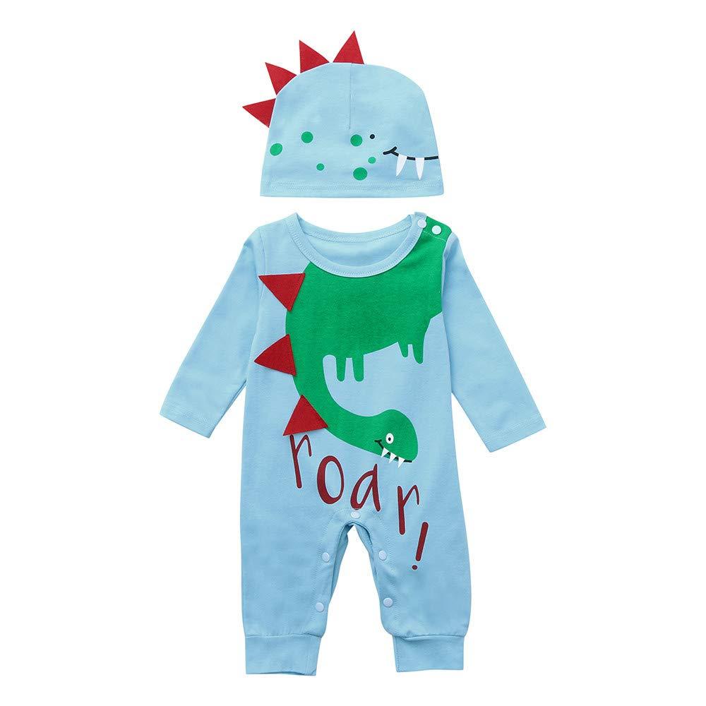 🌈Btruely Bebé Niña Invierno Otoño de 0 a 24 Meses recién Nacido niña niño de Dibujos Animados Dinosaurio 3D Mono Conjunto de Ropa de Sombrero Camisetas de ...