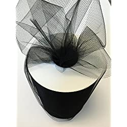 Tulle Fabric Spool/Roll 6 inch x 100 yards (300 feet), 34 Colors Available, On Sale Now! (black)