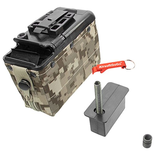 Mag Box Airsoft (Auto-Winding 1200rd Box Magazine for Classic Army M249 Airsoft AEG - Keychain Included)