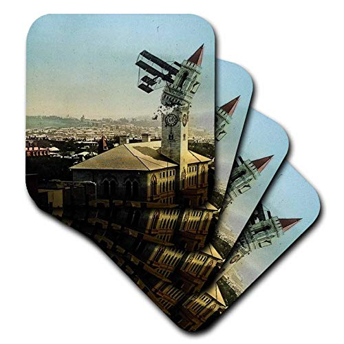 3dRose Scenes from the Past - Magic Lantern - Dangers of Early Flight Biplane Chrashing into a Building Vintage - set of 4 Coasters - Soft (cst_301249_1) ()