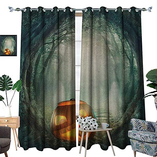 Warm Family Halloween Thermal Insulating Blackout Curtain Drawing of Scary Halloween Pumpkin Enchanted Forest Mystic Twilight Party Art Patterned Drape for Glass Door W120 x L84 Orange Teal]()