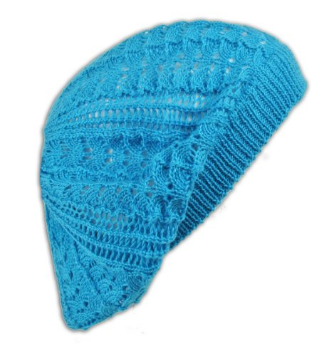Womens Fashion Crochet Beanie Hat Knit Beret Skull Cap Tam (Turquoise)