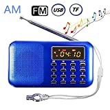 BeiLan Mini Digital AM FM Pocket Radio Portable Speaker Mp3 Music Player Stereo Sound Support TF Card USB Disk with LED Screen Display and Emergency Flashlight Function (Blue)