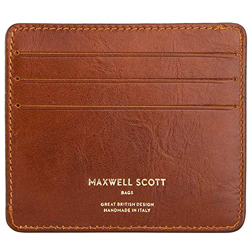 Maxwell Scott Luxury Italian Leather Card Holder - Marco Tan
