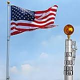 YesHom 25ft Telescopic 16 Gauge Aluminum Flag Pole Free 3'x5' US Flag