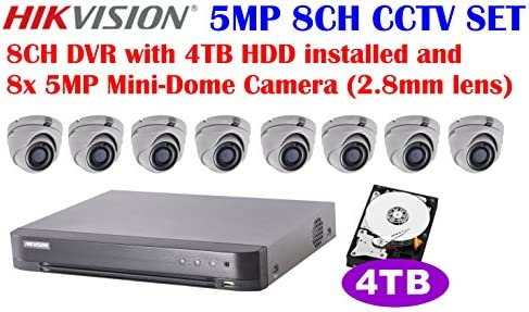 Hikvision 5MP 8CH Turbo HD Analog CCTV System 8CH DVR with 4TB HDD Installed and 5MP IR 2.8mm Lens Outdoor Mini-Dome Camera x8
