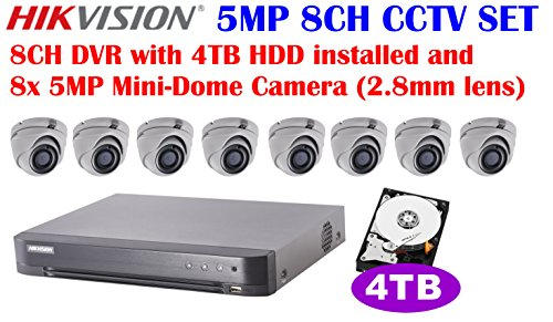 Hikvision 5MP 8CH Turbo HD CCTV System: 8CH DVR with 4TB HDD Installed and 5MP IR 2.8mm Lens Outdoor Mini-Dome Camera x8