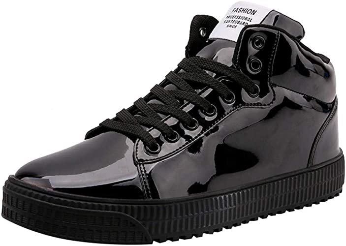 Mens Shiny Leather High-Top Sneakers