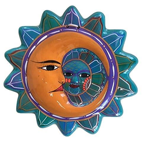 Talavera Sun and Moon Face Decor - Ceramic Eclipse - Hand Painted In Mexico - Multicolor