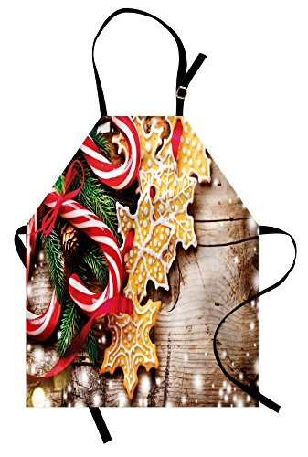 Ambesonne Christmas Apron, Cookies and Candy Canes on Wooden