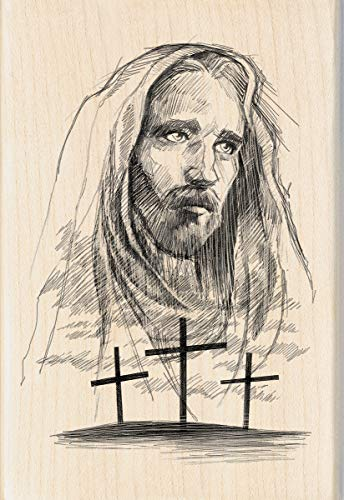- Inkadinkado Jesus Cross Wood Religious Mounted Rubber Stamp for Card Making and Scrapbooking, 1pc, 4.02''L x 2.77''W