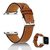 aceyoon iWatchBandsforMen42mm Leather Brown iwatch Bracelet with Stainless Clasp Apple Watch Wristband Strap Compatible for iPhone Smart Watch Series 1 2 3 42mm