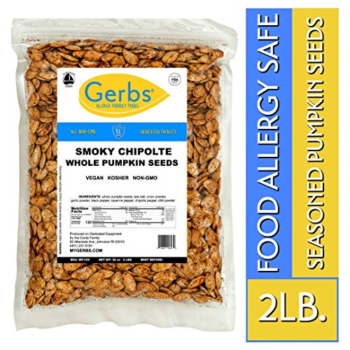 (Smokey Chipotle Whole Pumpkin Seeds, 2 LBS by Gerbs - Top 14 Food Allergy Free & Non GMO - Vegan & Kosher Certified - Dry Roasted Seasoned In-Shell Pepitas from United States)