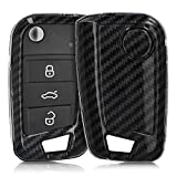 kwmobile Car Key Cover for VW Golf 7 MK7 - Hard Shell Keyless Entry Fob Case with Design for VW Golf 7 MK7 3 Button Car Key - Carbon Black