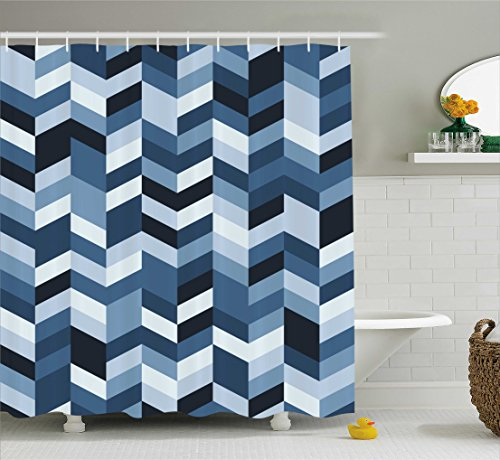 - Ambesonne Navy Shower Curtain, Soft Pastel Toned Modern Herringbone Pattern with Zigzag Twisty Stripes Image, Fabric Bathroom Decor Set with Hooks, 70 Inches, Dark and Slate Blue
