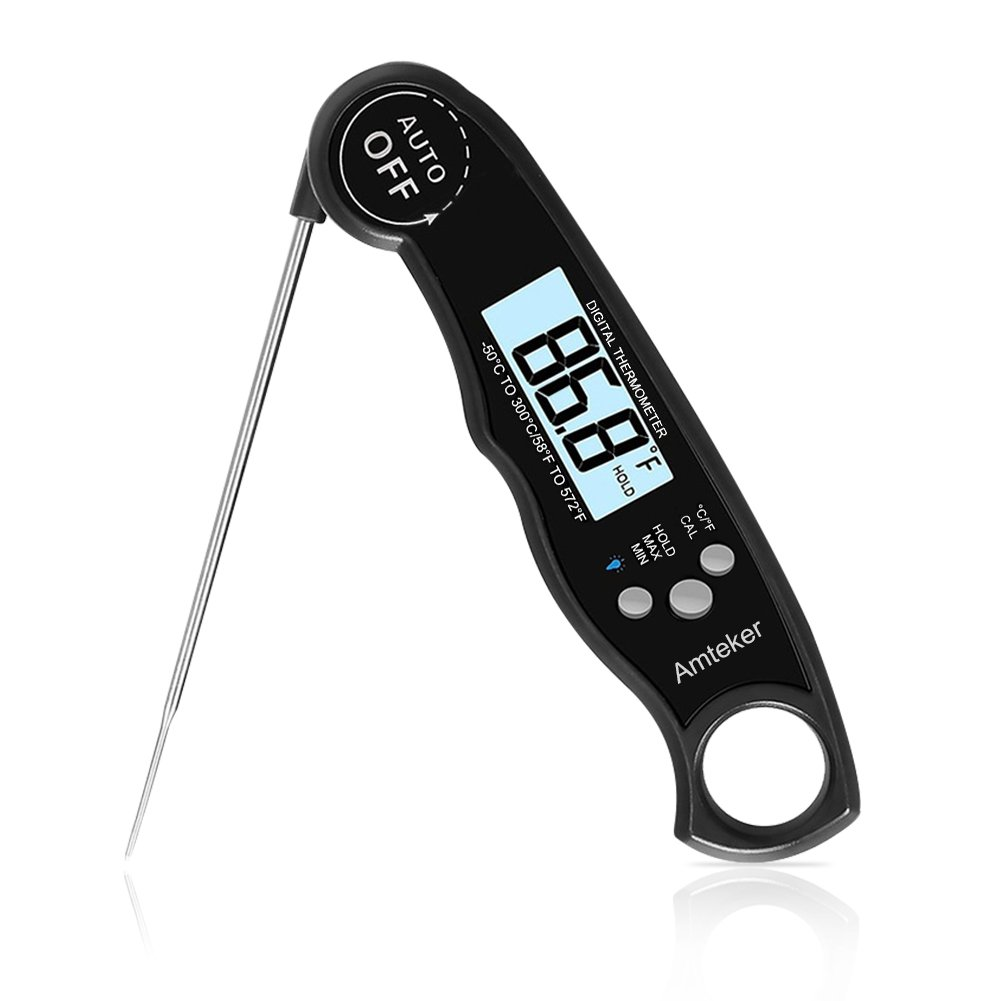 Amteker Digital Food Thermometer, Waterproof Electronic Cooking Instant Read and Meat Thermometer for Kitchen, BBQ, Poultry, Grill, Baking, Fast & Auto On/Off (Battery Included)