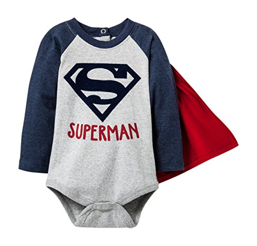 Kids With Character DC Comics Superman Baby Boys Bodysuit With Removable Cape (0-3 (Old Man Baby Halloween Costume)