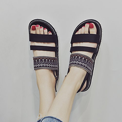 YMFIE a comfort scarpe da fondo black sandali Bohemian antiskid donna estate piatto spiaggia rEtxtq