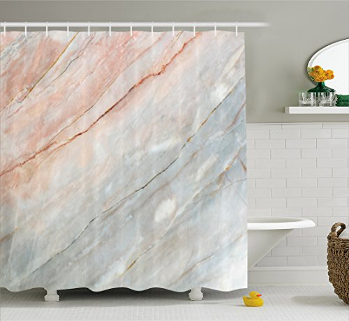 Ambesonne Marble Shower Curtain, Onyx Stone Textured Natural Featured Authentic Scratches Artful Illustration, Fabric Bathroom Decor Set with Hooks, 70 inches, Peach Pale Grey