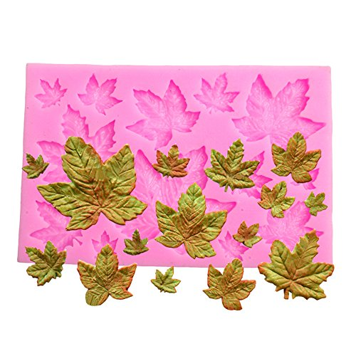 Efivs Arts DIY 3D Mini Maple Leaf Shaped Silicone Mold Fondant Mold Cupcake Cake Decoration Tool ()