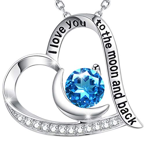 Elda&Co Natural Gemstone Swiss Blue Topaz Necklace December Birthstone Sterling Silver Jewelry for Women Christmas Birthday Gift I Love You to The Moon and Back Gift for Her (Topaz Set Birthstone)