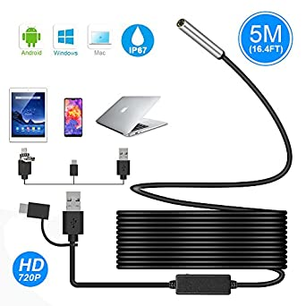 USB Endoscope, Ihong 3 in 1 Semi-rigid 5M 720P 5.5MM HD Borescope Inspection Camera Waterproof Snake Camera with USB Type-C Connector 6 Adjustable Lights for Android Windows&Macbook OS Computer Laptop