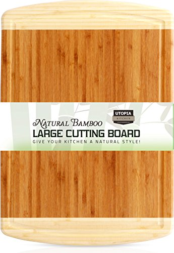 Bamboo Cutting Board Large High Quality Bamboo Cutting Board for Chicken and Meat and Vegetables by Utopia Kitchen