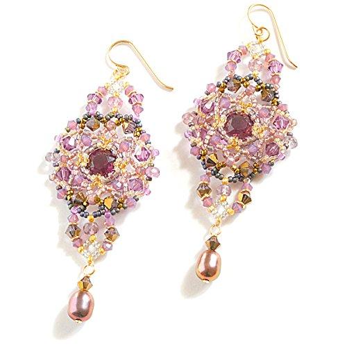 Statement Earrings in Plum Spinel, Cultured Freshwater Pearls, Swarovski Crystal, 14K Gold (Designer Spinel Earrings)