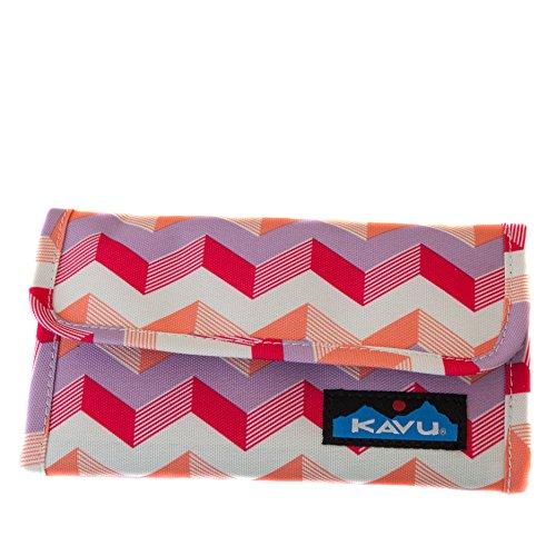 KAVU Mondo Spender Tri-Fold Wallet with Snap Closure - Sunset Chevron