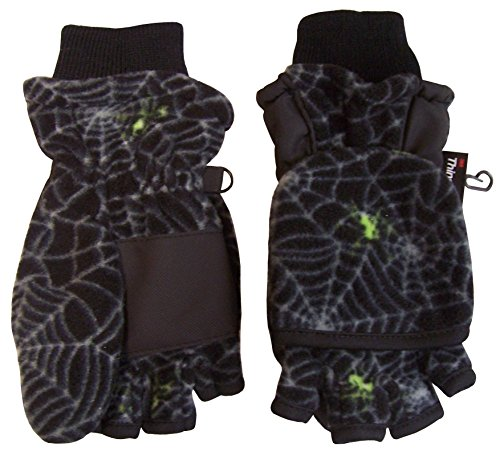 N'Ice Caps Big And Little Kids Thinsulate Lined Converter Fingerless Glove To Mitten (6-8yrs, Spider ()