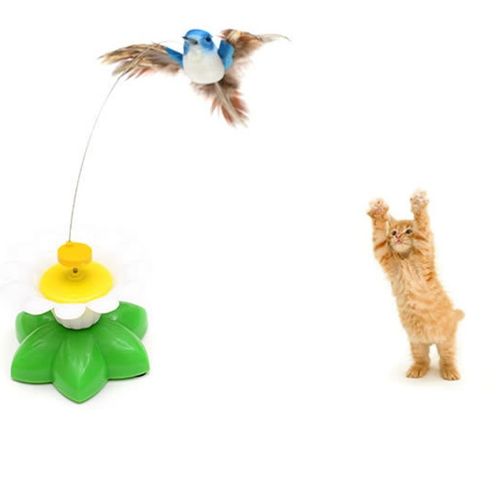 Bird Toy For Pet Cats, Funny Rotating Electric Flying Bird Interactive Toy With A Fastening Tape, Multicolor By ZiYan