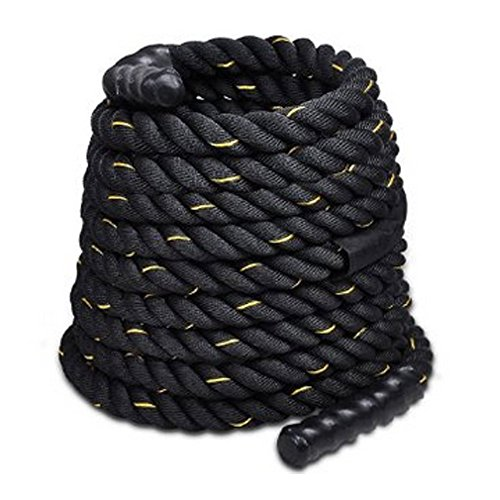 Jakago Battle Exercise training Rope 2 Inch Diameter 40ft Length Fitness Rope Heavy Duty Poly Dacron Battle Ropes with Anchor kit Workout Training Undulation Ropes by Jakago