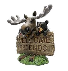 Al aire libre Welcome alce oso y mapache bienvenida Estatua por DWK   Adorable jardín Animal Escultura