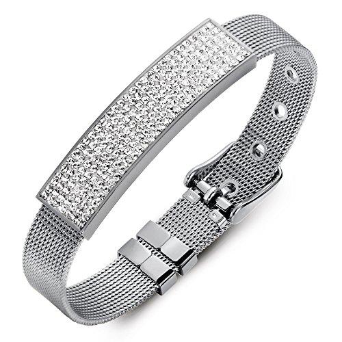 18k Stainless Steel Charm Bracelet (VITEROU Womens Elegant Sparkle Crystal Charm Bracelet Gift Stainless Steel Mesh)