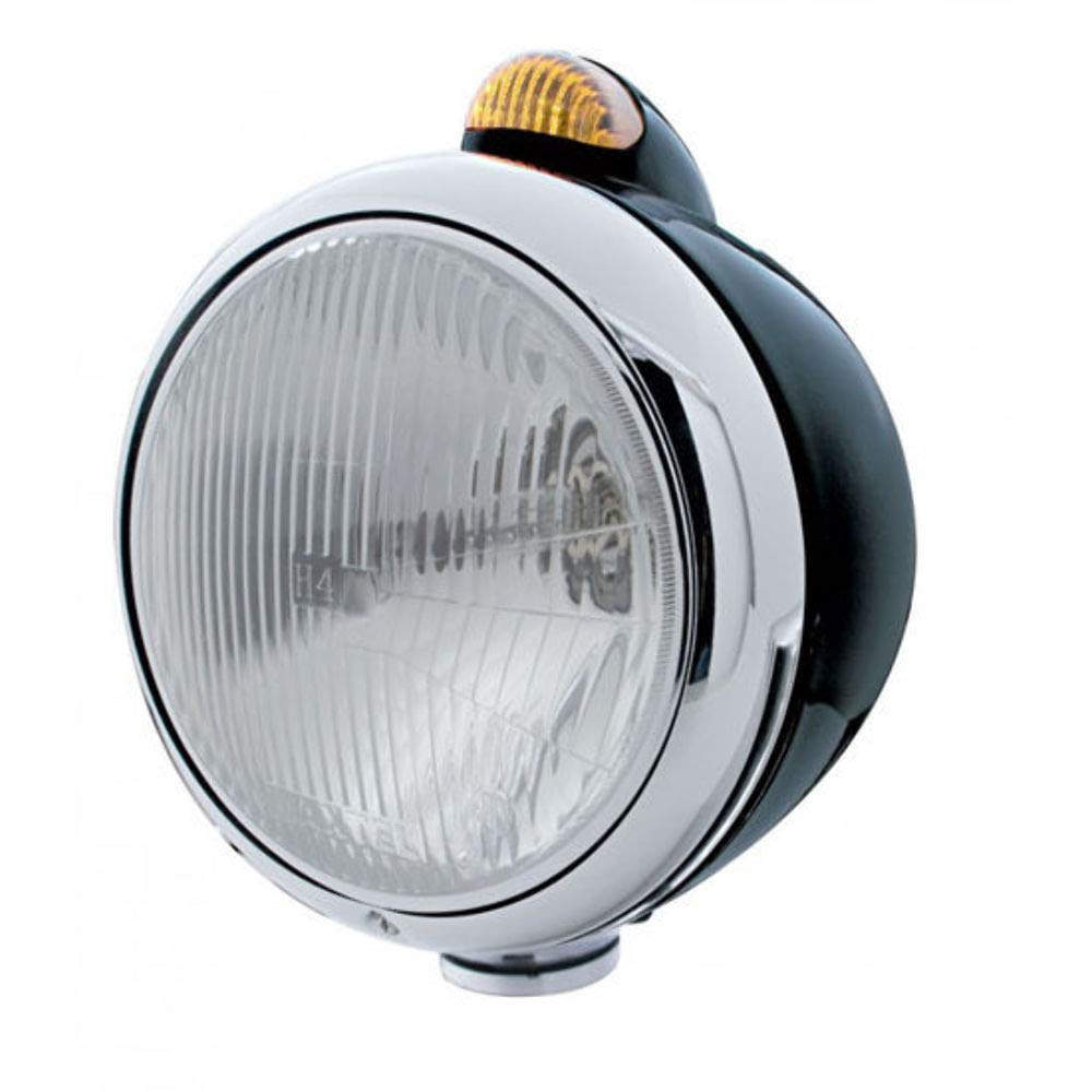 "UPI 32414 Black ""GUIDE"" Headlight - H4 Bulb w/ Dual Function Amber LED/Amber Lens"