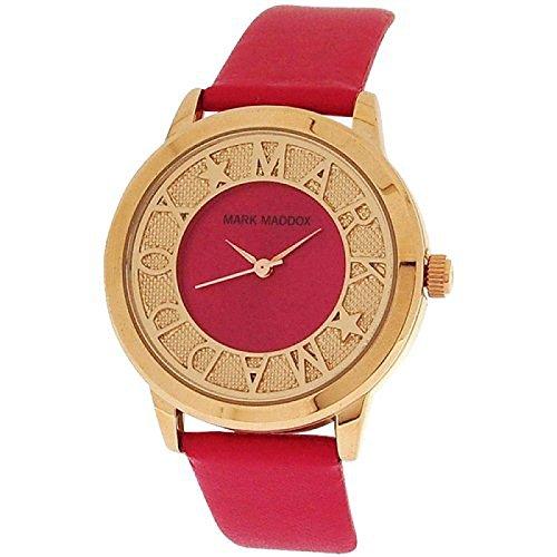 Mark Maddox Ladies Fancy Goldtone Pink Analogue Dial PU Strap Watch MC0005-70