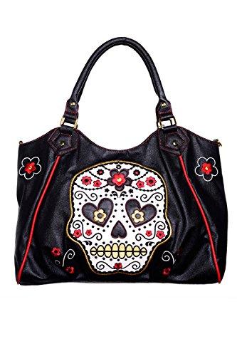 Banned-Sugar-Skull-Shoulder-Bag