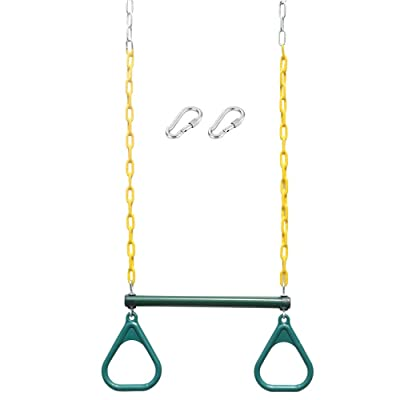 Kids Toys Wokasun.JJ Heavy-Duty Ring Trapeze Bar Combo Swing With Coated Swing Chains Ring Swing - 360 Rotate° Toys: Musical Instruments